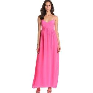 Amanda Uprichard Silk Maxi Dress - Hot Pink Small